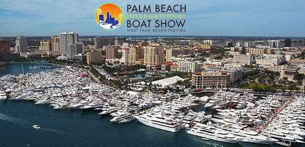 palm beach boat show helicopter view